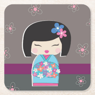 Kokeshi Doll Square Paper Coaster
