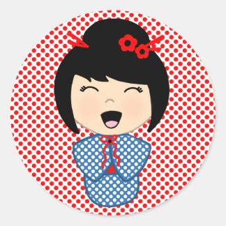 Kokeshi Doll Sticker, Glossy, 3 inch (sheet of 6) Classic Round Sticker