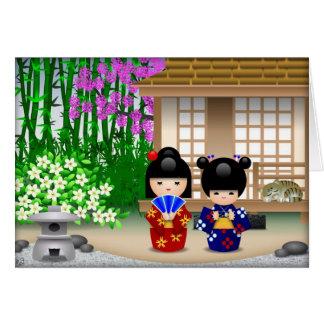 Kokeshi Dolls and Teahouse Card