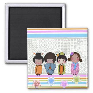kokeshi dolls square magnet