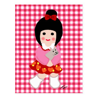 Kokeshi Girl with her Puppy Postcard