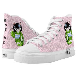 Kokeshi Maneki Neko Japanese Lucky Cat Kicks Printed Shoes