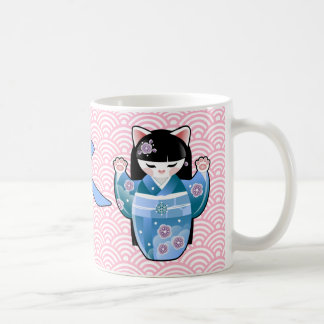 Kokeshi Maneki Neko Japanese Lucky Cat Seasons Coffee Mug