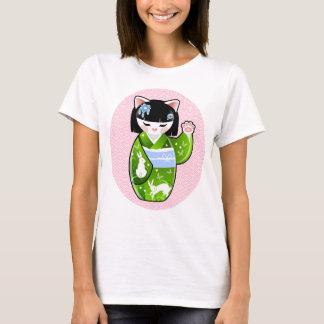 Kokeshi Maneki Neko Japanese Lucky Cat Summer T-Shirt