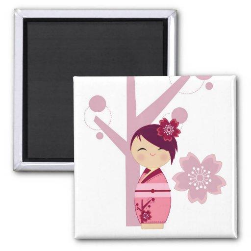 Kokeshi Sakura and Cherry Tree Magnet