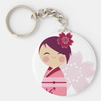 Kokeshi Sakura Close Up Keychain