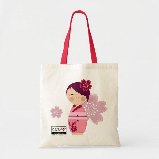 Kokeshi Sakura Tote Bag