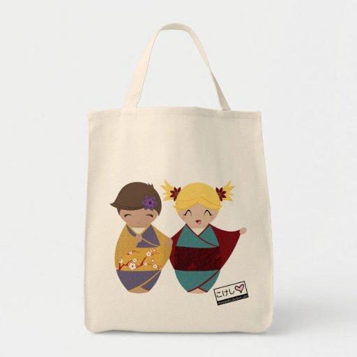 Kokeshi Sisters Grocery Bag