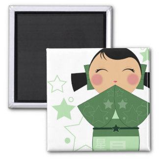Kokeshi Star Square Magnet