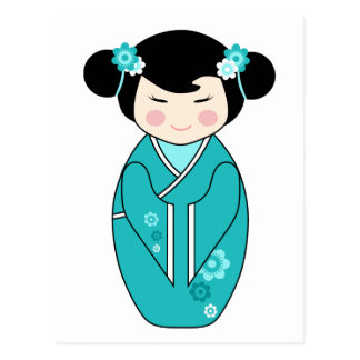 Kokeshi Style Doll Illustration in Blues Postcard