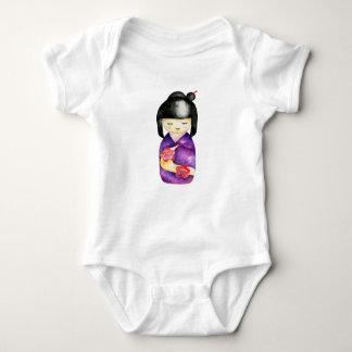 Kokeshi Watercolor Painting Baby Bodysuit