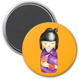Kokeshi Watercolor Painting Magnet