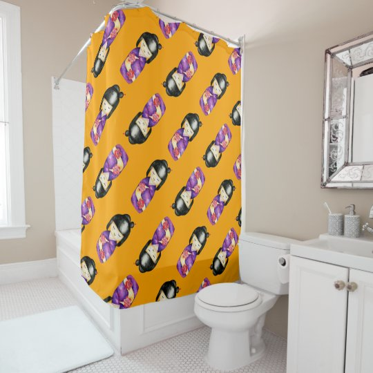Kokeshi Watercolor Painting Pattern Shower Curtain
