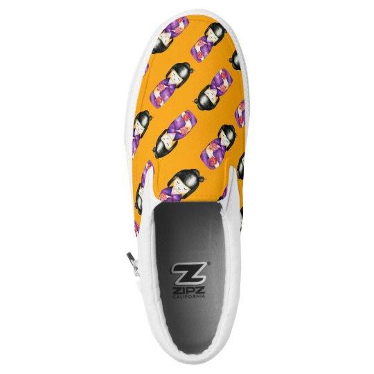 Kokeshi Watercolor Painting Pattern Slip-On Shoes