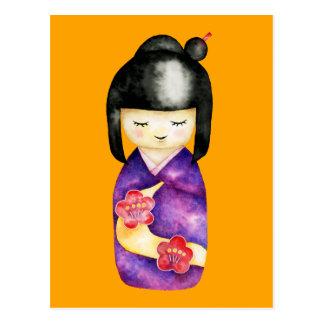 Kokeshi Watercolor Painting Postcard