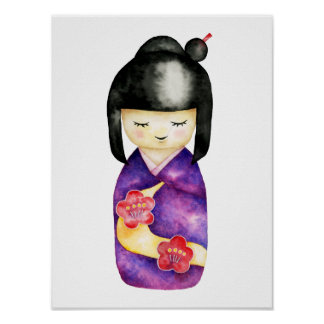Kokeshi Watercolor Painting Poster