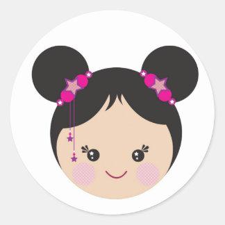 Kokeshi with Buns Classic Round Sticker