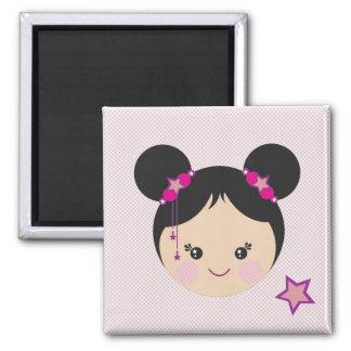 Kokeshi with Buns Pin Magnet