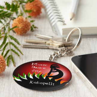 Kokopelli Basic Round Button Key Ring