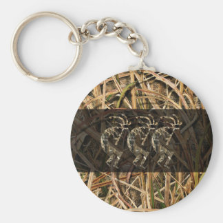 Kokopelli camo long dark basic round button key ring
