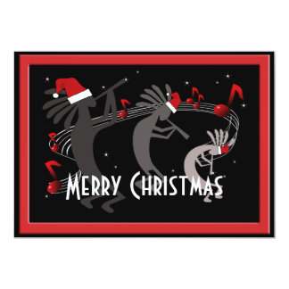 "Kokopelli Christmas Flat Greeting Card 5"" X 7"" Invitation Card"