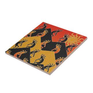 Kokopelli Dance Desert Sunset Southwest Ceramic Tile