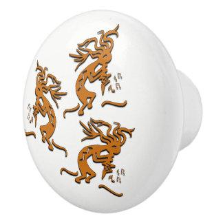 Kokopelli Dancing Musicians Ceramic Knob