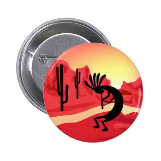 Kokopelli Desert Sunset Button