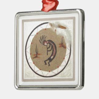 Kokopelli Dreamcatcher Metal Ornament