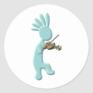 Kokopelli Fiddle Classic Round Sticker