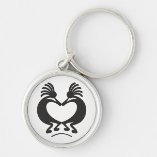 Kokopelli for Valentine's day Silver-Colored Round Key Ring