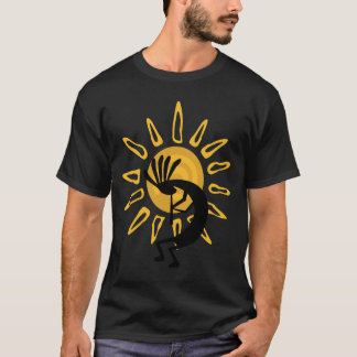 Kokopelli Gold Sun Mens Black T-shirt