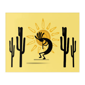 Kokopelli Golden Sun Southwest Acrylic Acrylic Wall Art