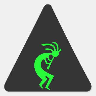 Kokopelli Green Triangle Sticker