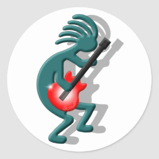 Kokopelli Guitar Classic Round Sticker