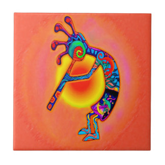 Kokopelli Lizard Sun Ceramic Tile