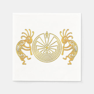 KOKOPELLI / MAN IN THE MAZE gold + your ideas Paper Napkin
