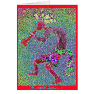 KOKOPELLI MYSTICAL RED-RED BORDER CARD