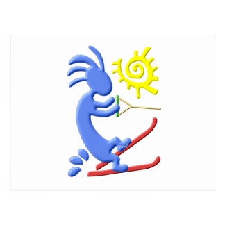 Kokopelli Native American Waterskier Postcard