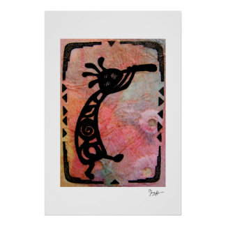 Kokopelli on Rice Paper and Painted Background Poster