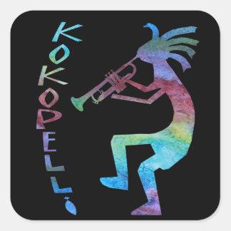 Kokopelli Plays The Trumpet Square Sticker