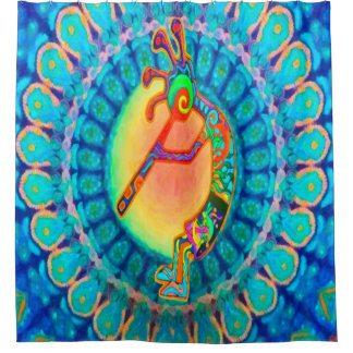 Kokopelli Rabbit Moon Southwestern Shower Curtain