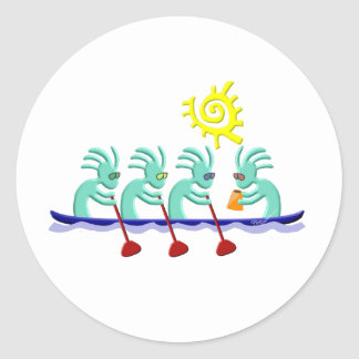 Kokopelli Rowing Classic Round Sticker
