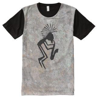Kokopelli Saxaphone Player Petroglyph All-Over Print T-Shirt