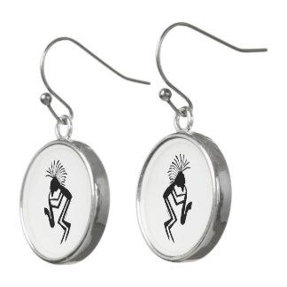 Kokopelli Saxaphone Player Petroglyph Earrings