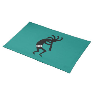 Kokopelli Southwest Black And Teal Placemat