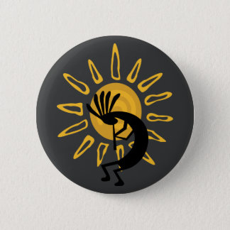Kokopelli Southwest Gold Sun Button