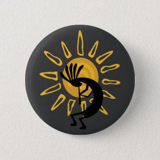 Kokopelli Southwest Gold Sun Button