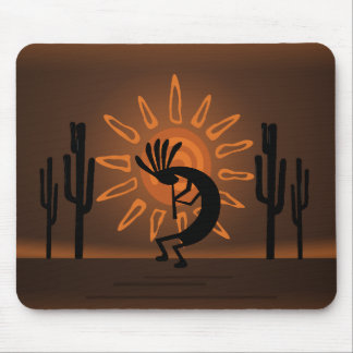 Kokopelli Southwest Rustic Brown Mousepad