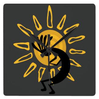 Kokopelli Sun Southwest Gold Clock